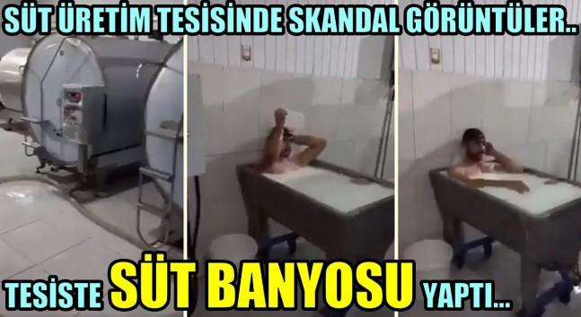 Konya'daki süt fabrikasında skandal görüntüler: Kazanda 'süt banyosu'